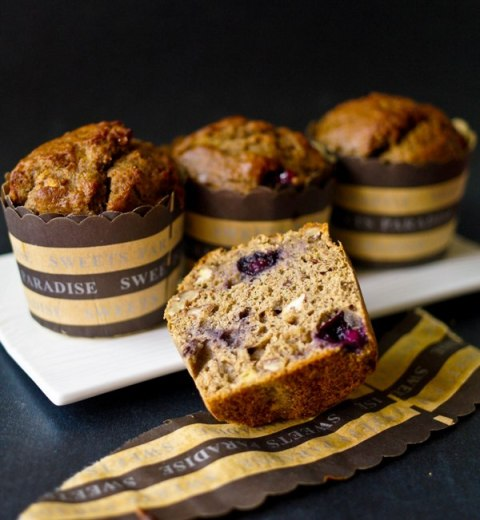 Banana Blueberry Buckwheat Muffins from hotfrommyoven.com