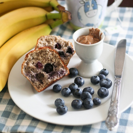 Blueberry Banana Buckwheat Muffins from thehealthyfodie.com