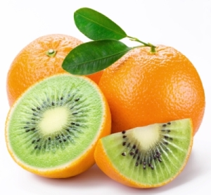 Flesh kiwi cut ripe orange