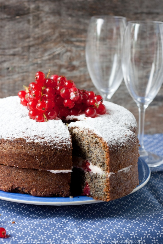 Poppy seed buckwheat cake with fresh red currants