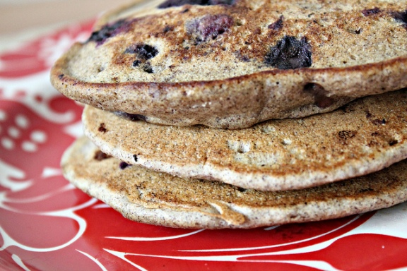Blueberry Buckwheat Pancakes from joanne-eatswellwithothers.com