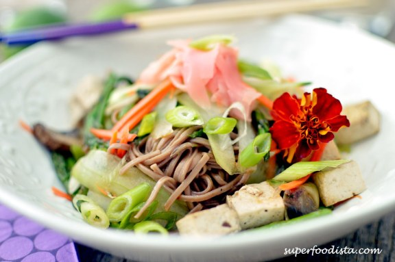 Warm Soba (Buckwheat Noodles) salad from superfoodista.com