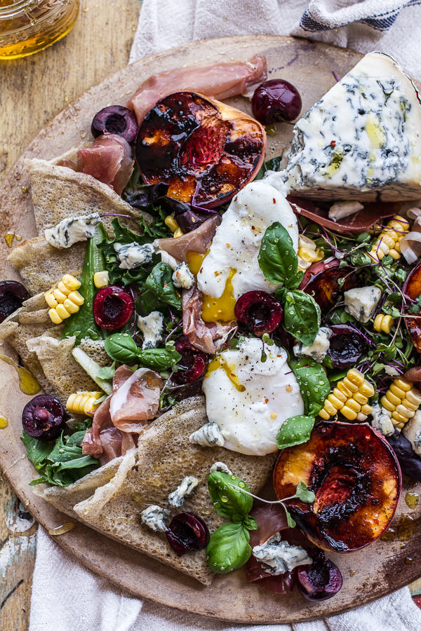 Caramelized-Peach-Cherry-Prosciutto-and-Gorgonzola-Salad-w-Buckwheat-Crêpes