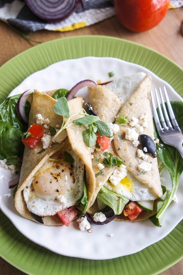 BUCKWHEAT CREPES WITH GREEK SALAD AND EGG