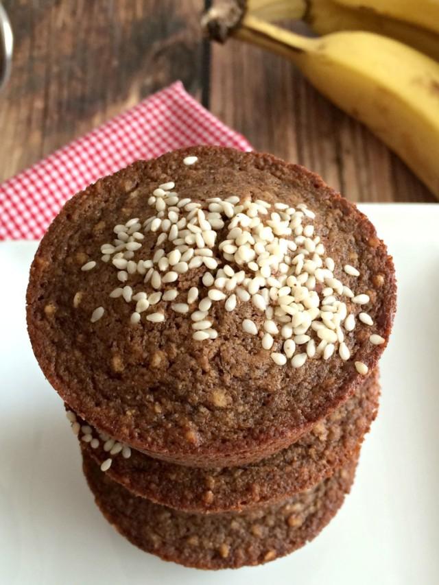 Sesame Banana Buckwheat Muffins